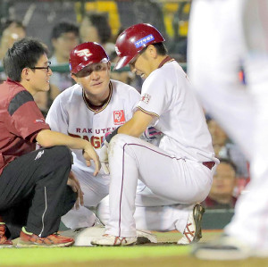 8回の走塁で負傷して交代した藤田