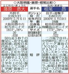 大阪桐蔭の藤原&根尾比較