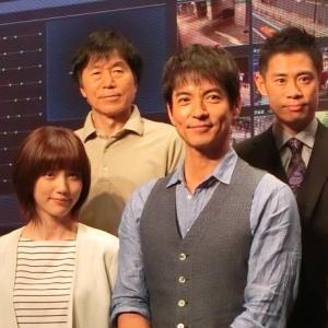 ドラマ「絶対零度」の会見に出席した(前列左から)本田翼、沢村一樹(後方同)平田満、伊藤淳史