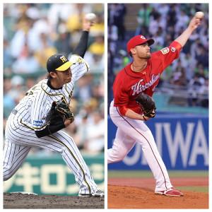 先発する阪神・岩貞(左)、広島・ジョンソン