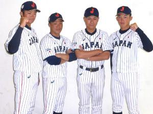 アジア大会に向けて会見に出席した社会人日本代表(左から)笹川晃平、佐藤旭主将、石井章夫監督、岡野祐一郎