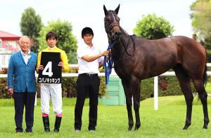おおぞら特別を勝った期待馬コパノキッキングでの藤田の交流G1騎乗プランを口にしたDr.コパこと小林祥晃オーナー(左)(左から2人目は藤岡康)