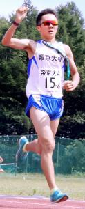 優勝した帝京大Aのアンカー福島健斗