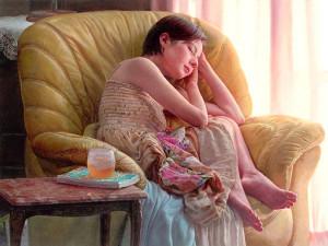 画家・中島健太氏が描いたタレント・ベッキーの肖像画