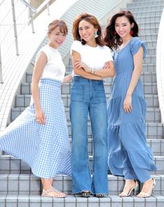 美人ママモデルとして人気を集める(左から)千葉優子、二宮こずえ、柳橋唯(カメラ・堺 恒志)