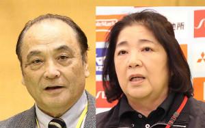 日本体操協会の塚原光男副会長(左)と塚原千恵子女子強化本部長