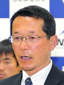 会見する日体大・渡辺監督
