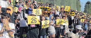 背番号「25」のボードを掲げる栃木のファン