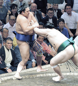 旭大星(左)は押し出しで佐田の海に敗れた