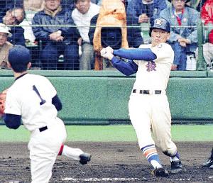本塁打を放った星稜・松井(1992年3月撮影)