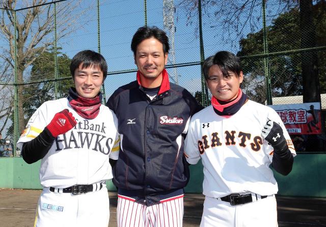 熊本震災復興野球教室に参加した(左から)和田、新垣氏、杉内(2016年12月撮影)