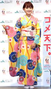 秋田県産米「あきたこまち」の新CM発表会に出席した葵わかな