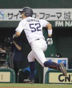 4回2死二塁、左中間にプロ初本塁打を放った山田(カメラ・清水 武)