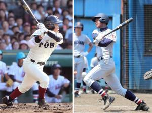 二刀流でこの夏全国制覇をはたした大阪桐蔭・根尾(左)と、潜在能力では根尾にも負けない横浜・万波(右)