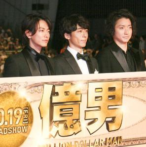完成披露試写会に出席した(左から)佐藤健、高橋一生、藤原竜也