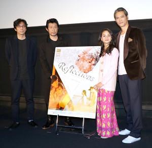 津川雅彦さんの最後の主演映画の舞台あいさつに登壇した(左から)行定勲監督、永瀬正敏、シャリファ・アマニ、加藤雅也