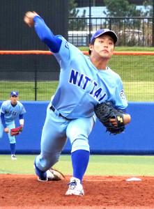 首都大学リーグ通算30勝の日体大・松本航。MAX155キロの速球が魅力だ