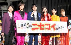 完成イベントに出席した(左から)岸優太、DAIGO、中島健人、中条あやみ、池間夏海、島崎遥香