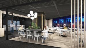 日比谷公園内に23日にオープンするアシックスジャパンの「スポーツステーション&カフェ」内観(同社提供)