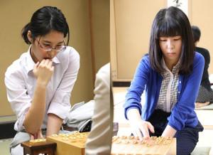 2期連続の対局となる(左から)里見香奈女流名人と伊藤沙恵女流二段