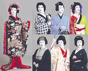 中村壱太郎の七変化。左端は油屋娘お染、(上段左から)土手のお六、丁稚久松、許嫁お光、(下段同)後家貞昌、奥女中竹川、芸者小糸
