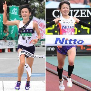 2013年の全日本大学駅伝、駒大のアンカーとして優勝のゴールテープを切った窪田【右】初マラソンだった14年の大阪国際女子で日本人2位でゴールした前田