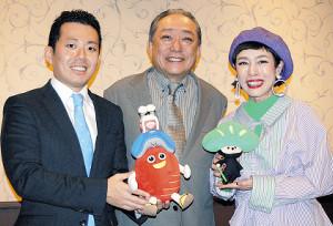 南座の新春公演をPRした(左から)藤山扇治郎、渋谷天外、久本雅美