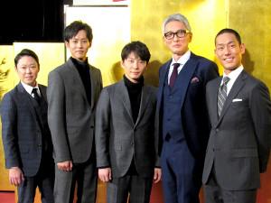 「いだてん」に出演する(左から)阿部サダヲ、松坂桃李、星野源、松重豊、中村勘九郎