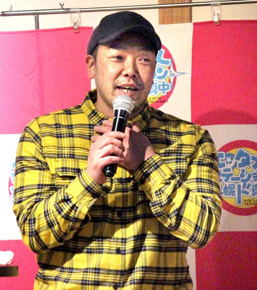 札幌市内の居酒屋「北の味 大助」トークショーを行った阿部(カメラ・後藤 亮太)