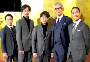 会見に登場した(左から)阿部サダヲ、松坂桃李、星野源、松重豊、中村勘九郎