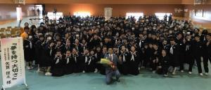 母校の福島・西郷村立西郷第二中学校で講演した矢貫俊之氏