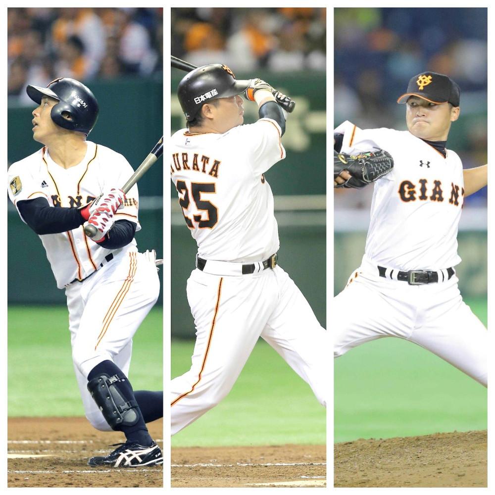 現役時代の(左から)矢野、村田、杉内