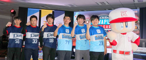 e日本シリーズに挑む左から西武・なたでここ選手、ミリオン選手、BOW川選手、横浜・じゃむ〜選手、ヒデナガトモ選手、AO選手