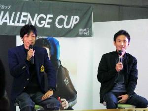 12月16日ボートレースびわこで行われたグランプリ壮行会で守田(左)と馬場が熱い思いを語った