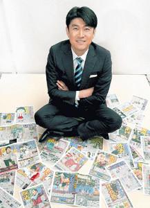 スポーツ報知の紙面を前に、2018年を振り返った藤井貴彦アナウンサー(カメラ・頓所 美代子)
