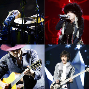1年8か月ぶりにライブを行った「L'Arc~en~Ciel」(左上から時計回りに)yukihiro、hyde、tetsuya、ken