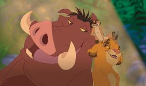 映画「ライオン・キング」に登場するプンバァ(左)とティモン(中)とシンバ(右)(C)Disney