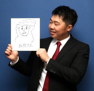 広島・高橋大が新妻の似顔絵を披露