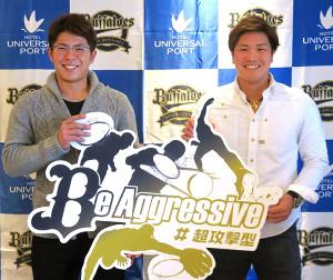 キャッチフレーズ「Be Aggressive #超攻撃型」を発表した若月選手会長(左)と伏見副会長