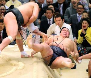 17年春場所13日目、日馬富士(左)に寄り倒しで敗れ、土俵下へ転落した稀勢の里