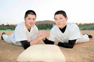 センバツでの活躍を誓った智弁和歌山・黒川史陽主将(左)と東妻純平(右)