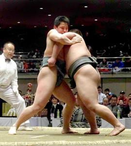 白鵬杯の決勝で相撲を取る手計太希(左)