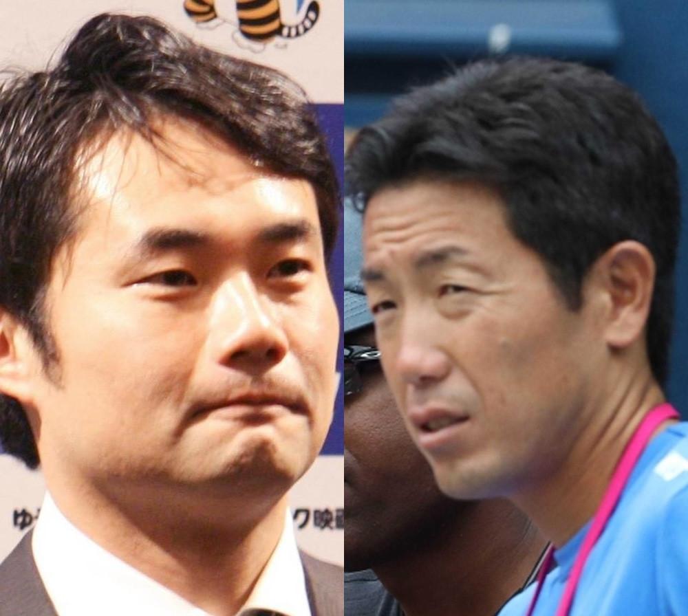 杉村太蔵(左)と吉川真司コーチ