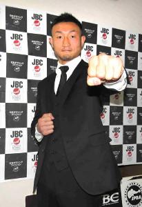 世界ウエルター級の挑戦者決定戦を発表した小原佳太(カメラ・浜田 洋平)