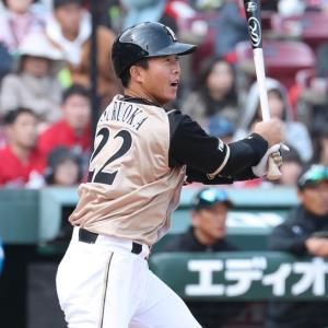3回無死一、三塁、鶴岡慎也がセンターへ適時三塁打を放つ(カメラ・豊田 秀一)