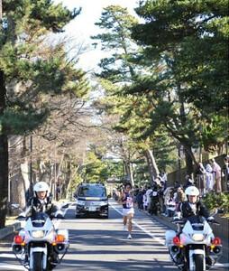 ◆第86回箱根駅伝・往路(2日)大磯の松並木を独走する明大・4区の安田