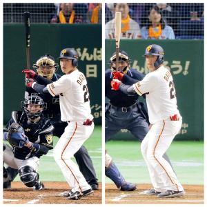 昨年の岡本(左)はクローズドスタンスになりがちで内角球に体を早く開く悪癖が… 今年の岡本(右)は意識的にオープンスタンス気味に&重心を真ん中に