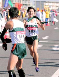 東農大時代の2014年の箱根駅伝で3区を力走した戸田雅稀