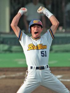 1996年9月23日の日本ハム戦で優勝を決めるサヨナラ二塁打を放ったオリックスのイチロー