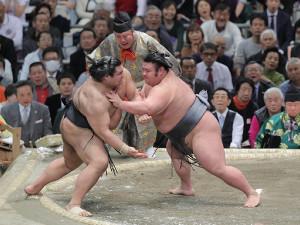 高安(左)を押し出しで破った貴景勝(カメラ・石田 順平)